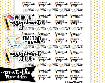 School Assignments PRINTABLE planner Stickers | Pdf, Jpg, Png | Instant Download