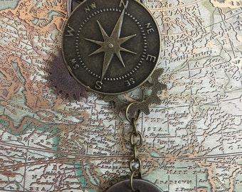 Compass and Gears Journey Pendant Necklace