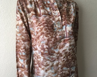 Vintage Women's 70's Disco Blouse, Polyester, Tree Prined, Long Sleeve by Arrow (L)