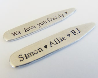 Father's Day Gift, Father's Day Card, Hand Stamped Collar Stays, Personalized Dad Gift, Father's Day Gift Daughter, Gift for Dad, Custom
