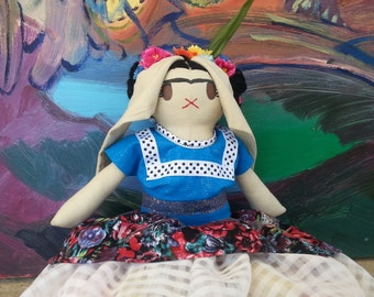 Frida Kahlo Doll- Handmade Bunny Doll, Celebrity Doll