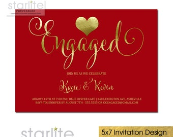 Red and Gold Engagement Party Invitation, Engagement Party Invitation Red and Gold, Engaged Gold Heart Holiday Engagement Party Invitation