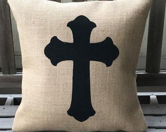 Cross Burlap Pillow *SHIPS Within 3 DAYS!