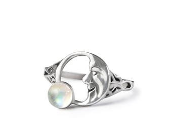 Half Moon Ring in Rainbow Moonstone and Sterling Silver