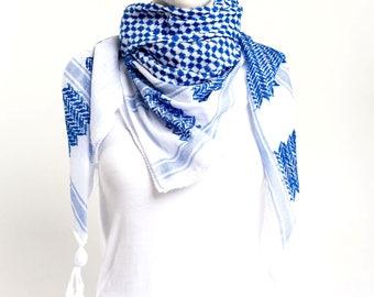 Hirbawi Original Hand Loomed Cotton Hatta/Kufiya (Cerulean)