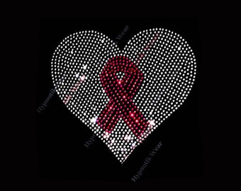 "Rhinestone Transfer "" Cancer Awareness Heart w/ Ribbon "" Choose your Ribbon Color"