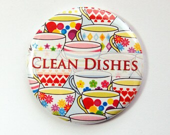 Clean Dishes, Magnet, Dishwasher magnet, kitchen magnet, clean dishes magnet, bright colors, Kitchen, KellysMagnets (3551)
