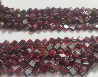 5 Strands, Garnet Square Shape ( Diagonally Drilled Beads) 16 Inch Strand, Top Quality