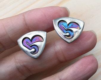 "CLEARANCE Silver stud earrings ""She"", Arabic calligraphy"