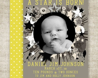 """BABY BIRTH ANNOUNCEMENTS Digital Printable Personalized """"A Star Is Born"""" - 81435017"""