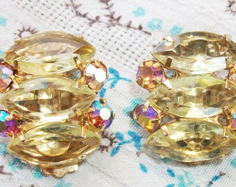 Vintage Gold Tone Yellow And AB Rhinestone Clip On Earrings