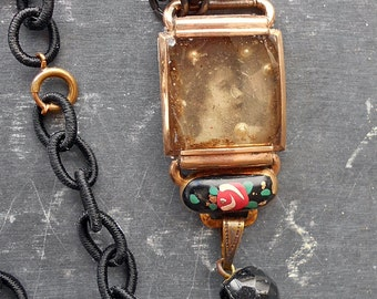 A Season for Mourning Antique Assemblage Necklace