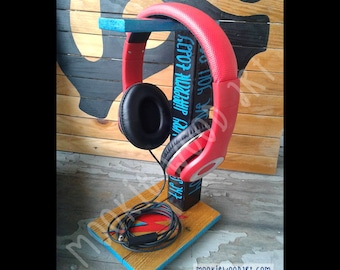 David Bowie Headphone Stand | Headphone Holder | Headset Stand | Headset Holder | Reclaimed wood | Made to order
