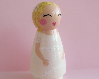 Hand Painted Love Boxes Custom Girl Boy Baptism Day Peg Doll Portrait Wood