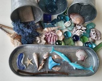 Ocean themed Loose Parts  Open-ended Reggio Emilia Inspired Tinker Tray Montessori Sensory Art Therapy Waldorf Charlotte Mason Nature Study