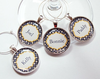 Personalized Wine Charms, Wine Glass Charms, Custom Wine Charm, barware, entertaining, table setting, polka dots, navy, grey, dots (4278)