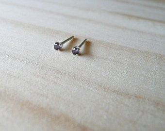 February birthstone earrings, amethyst stud earring, 2mm tiny earrings in sterling silver, plum purple CZ gem earring, boho stud earring