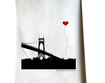 St John's Bridge in Portland Oregon Tea Towel Misprint On Sale