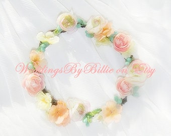 Floral Crown-Mint Peach Floral Crown-Bride, Bridesmaid, Flower Girl,  Floral Crown-Mint, Peach, Ivory Floral Crown-Made To Order Any Size