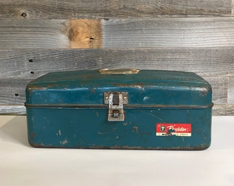 Western Auto Revelation Utility BOX Industrial Metal Tool Box- Tackle Box- Teal Green- Art Supply Box Organizer- Vintage Industrial Carrier