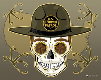 Male US Border Patrol Sugar Skull 11x14 print