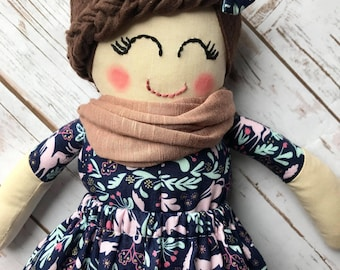 Handmade doll-cloth doll-modern rag doll-ready to ship