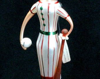 Beaux Arts Department 56 Baseball Player Glass Christmas Ornament with Tags