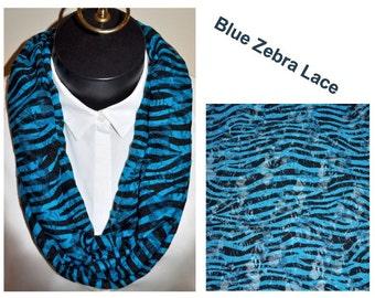 Blue Zebra Lace Infinity scarf