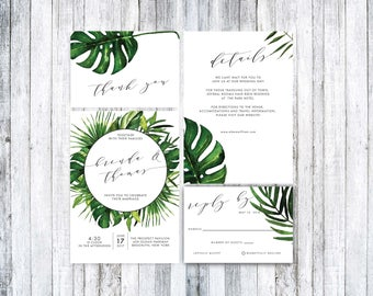 Wedding Invitation Template, Tropical Wedding Invitation, Printable Wedding Invitation Suite,Wedding Invitation PDF,Tropical Invitation PDF