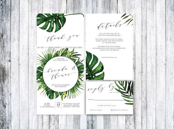 wedding invitation template tropical wedding invitation printable wedding invitation suitewedding invitation pdftropical invitation pdf