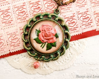 Vintage rose assemblage necklace / assemblage jewelry / upcycled / repurposed / statement necklace / vintage necklace / shabby chic