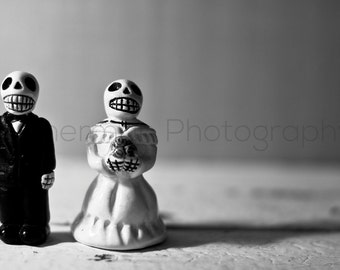 Skull Wedding Day of the Dead Black and White - 8x10 8x8 10x10 11x14 12x12 20x20 16x20 - Photography