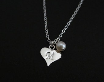 Initial Necklace. Sterling Silver Heart Charm Necklace. Personalized Jewelry. Pearl Necklace. Friendship.Bridesmaid Necklace. Bridal Jewelry