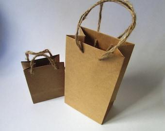 Small natural brown rustic paper bags.Natural handles . PK. of 10 bags