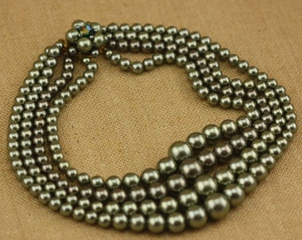 Four Strand Faux Pearl Necklace in Green - Vintage Costume Jewelry