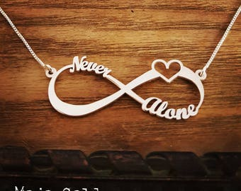 Boho Infinity Name Necklace and Chain With Heart/Infinity Necklace/Figure Eight/Inspirational/Personalized Jewelry/Yoga/Buddha/Christmas
