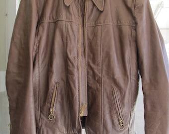 70s Brown Leather Motorcycle Jacket Vintage Riding Touring Jacket Size Medium Brooks Leather Sportswear, Inc., Detroit, Michigan