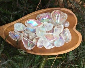 Angel Aura Crystal - Rainbow Crystal - Angel Aura Quartz - Angel Aura - Quartz Stones - Polished Stones - Pocket Stones - White Crystal
