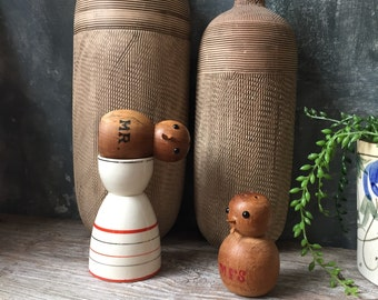 Mr. and Mrs. Wood Salt and Pepper Shakers | 1950's Vintage Wooden Chicks Salt and Pepper Shakers | Novelty Salt and Pepper | Wedding Decor