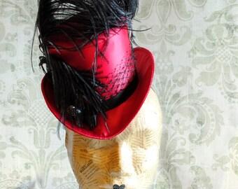 Burlesque Mini Top Hat in Fuchsia,Dark Cabaret Mini Top Hat,Party Mini Top Hat,Gothic Mini Top Hat-Custom-Made to Order