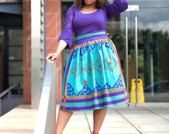 Ankara Midi Skirt, African print skirt, gathered skirt, vintage skirt, retro skirt, skirt