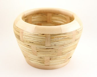 Basketweave Wood Repurposed Parallam and Maple Lathe Turned Segmented Woodturned Basket Weave Wooden Bowl - Junction Trade