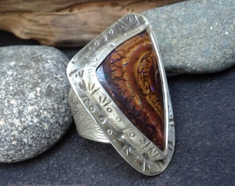 Large koroit boulder opal ring, one of a kind sterling silver setting, branching abstract patterns, size 7 and  1/4 but fits size 6 and 3/4