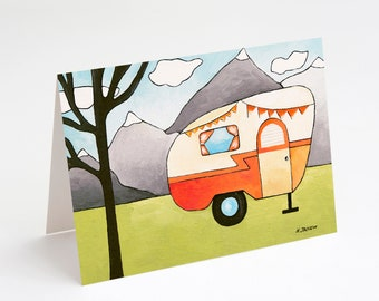 Greeting Card Retro Camper Art Orange RV Trailer Art from Original Painting