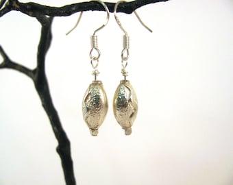 Sterling Silver Hill Tribe Oval Bead Earrings RKS555
