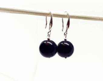 Black Onyx Earrings / Sterling Silver Earrings / Black round Earrings / Gemstone Silver Earrings / Natural Stone Earrings / Sphere Earrings