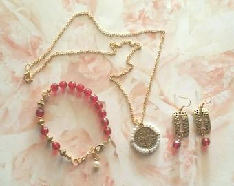 Inspirational Gold Scarlett Jewelry Set, Gold Jewelry Set, Christian, Religious
