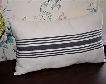 grain sack style pillow - farmhouse style - French country style