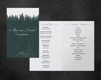 Wedding program, printable wedding program, wedding program template, DIY,nature, forest, wood, fir, tree, spruce