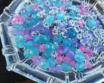 500 Small Blue, Pink, Purple and Silver Plastic Beads - 6mm - Faceted beads and spacer beads mix